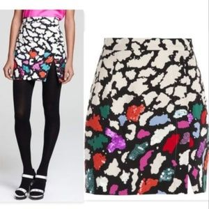 Nanette Lepore printed & sequin mini skirt abstrac